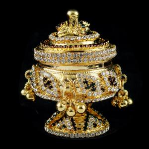 Gold Plated Enamel Floral Kumkum Box
