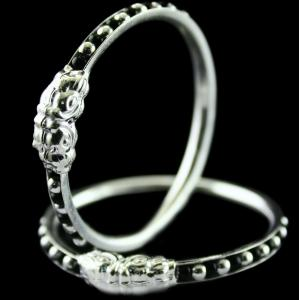 Silver Fancy Design Baby Bangles Studded Black Beeds
