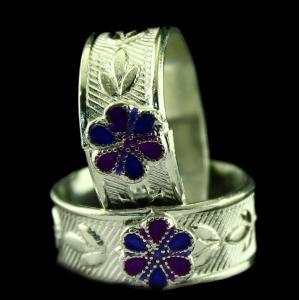 Silver Fancy Design Enamel Toe Ring