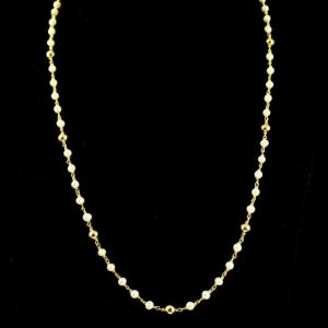 Silver Gold Plated Floral Design Pearl Necklace