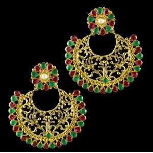 Silver Gold Plated Earring Drops Studded Green ,Red Pear Small AAti