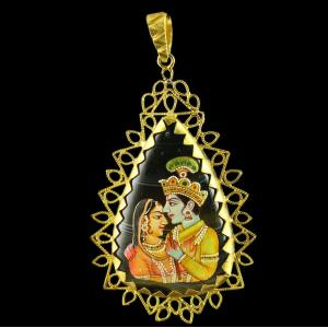 Silver Gold Plated Hand Painting Pendant