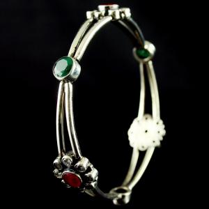 Silver Fancy design Bangle Studded Ruby and Emerald