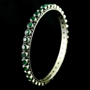 Silver Fancy design Bangle Studded Emerald