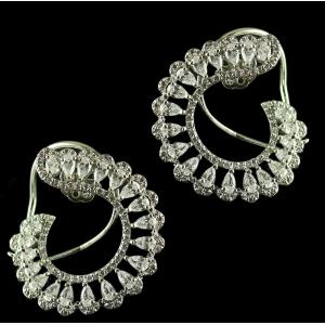 92.5 Sterling Silver Fancy Earrings Studded Swarovski Stones