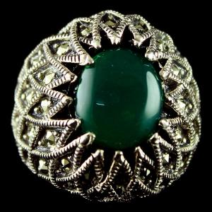 Silver Oxidized Fancy Deisgn Finger Ring Studded Emerald