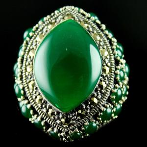 Silver Oxidized Fancy Finger Ring Studded Emerald