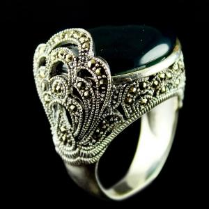 Silver Oxidized Fancy Finger Ring Studded Zircon Stones