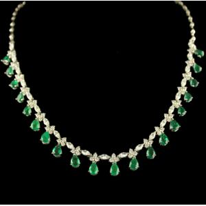 Silver Swarovski Zirconia Green Stone Necklace