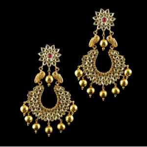 Gold Plated Chandbali Earrings studded Polki stones