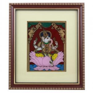 LEFT SIDE FACE GANESHA IN LOTUS GLASS PAINTING