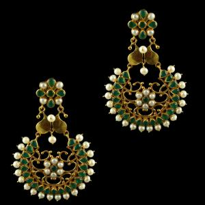 Silver Gold Plated Earring Green Pearl And Green Round
