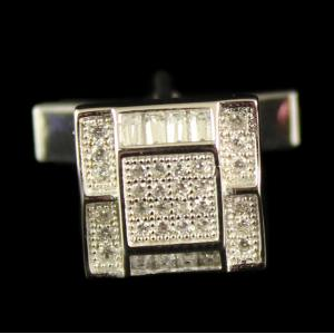 Silver oxidized Cuff link