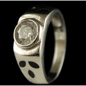 R6721 Sterling Silver Ring Studded Zircon Stones