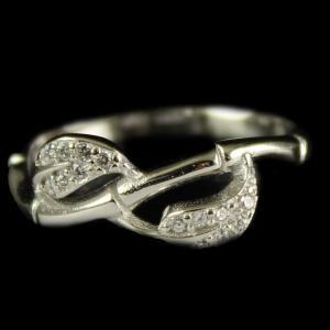 R4518 Sterling Silver Fancy Ring Studded Zircon Stones
