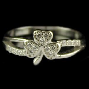 R14763 Sterling Silver Heart Shape Ring Studded Zircon Stone