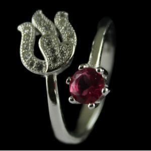 Silver Plated Meroon Zircon Stone Fancy Design Ring