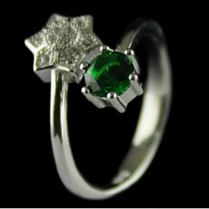Silver Plated Green Zircon Stone Fancy Design Ring