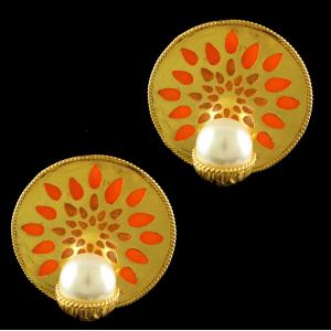 Silver Gold Plated Round Design Earrings Enomel And Pearls