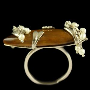 Silver Plated Fancy Design Tiger Eye Pearl Ring
