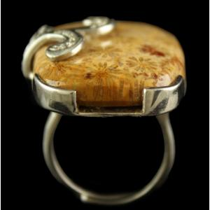 Silver Plated Fancy Design Semiprecious Fossil Coral White Cz Ring