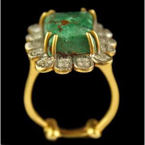 Silver Plated Fancy Design Semiprecious Amazonite Ring