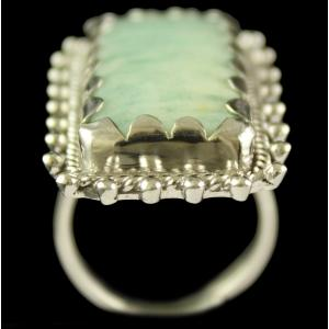 Silver Plated Fancy Design Semiprecious Amazonite Ring