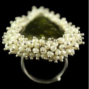 Silver Plated Fancy Design Semiprecious Basonite Pearl Ring