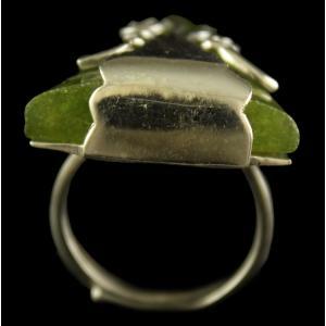 Silver Plated Fancy Design Semiprecious Rhodochro White Cz Ring
