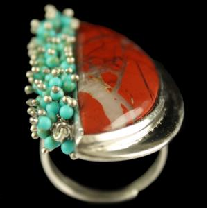 Silver Plated Fancy Design Semiprecious Rainbow Jasper Torquise Ring