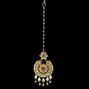 Silver Gold Plated Floral Design Tikka Studded Polki Stones