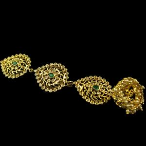 Silver Gold Plated head Tikka Studded Zircon And Green Onyx Ston