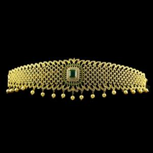 Silver Gold Plate Fancy Design Oddiyanam Studded Zircon Stones And Green Onyx