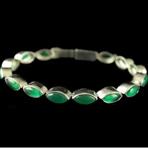 Silver Plated Fancy Design Bracelets With Green Onyx Marquise
