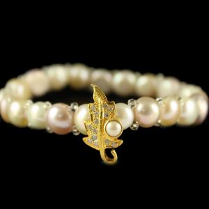 Silver Gold Plated Fancy Design Pearl Bracelet