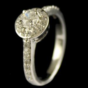 R13413 Sterling Silver Fancy Ring Studded Zircon Stones