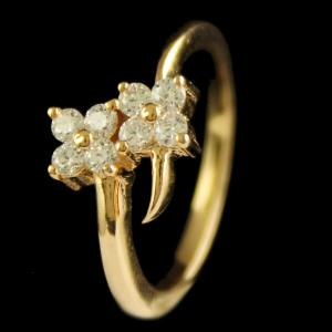 Silver Gold Plated Fancy Design Ring Studded Zircon Stones