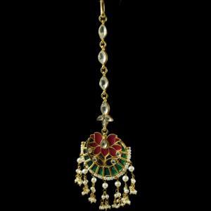 Silver Gold Plated Kuddan Stone Nethi Chutti or Tikka Pearl Flat
