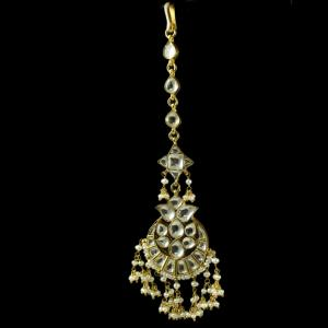 Silver Gold Plated Kuddan Stone Nethi Chutti or Tikka Pearl 2.5m Pearl 2.5m Pearl 3mm Pearl 4.5m