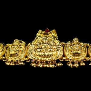 Silver Gold Plated God Design Ottiyanam Studded Red Onyx Stones