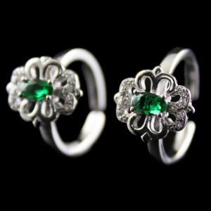 Silver Plated Fancy Design Green Onyx Toe Rings