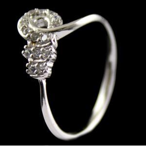 R13232 Sterling Silver Fancy Ring Studded Zircon Stones