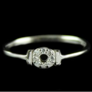 R13237 Sterling Silver Fancy Ring Studded Zircon Stones