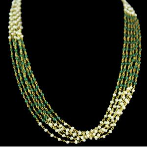 Silver Gold Plated Mix Color Aati Bunch Green And White Pearl Ea