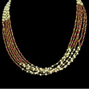 Silver Gold Plated Mix Color Aati Bunch Red And White Pearl Earr