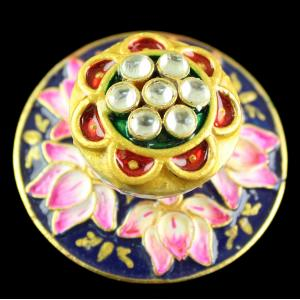 Silver Gold Plated Kuddan Stone Flower Design Rings