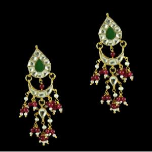 Silver Gold Plated Floral Design Earring Drops Studded Kundhan Stones And Red,Green Onyx With Pearls