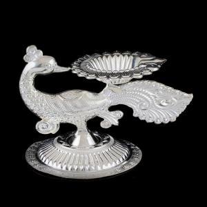 Silver Peacock Lamp