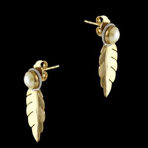 GOLD PLATED PEARL LEAF EARRINGS