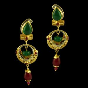 Silver Gold Plated Fancy Design Earring Studded Red Onyx Green Onyx